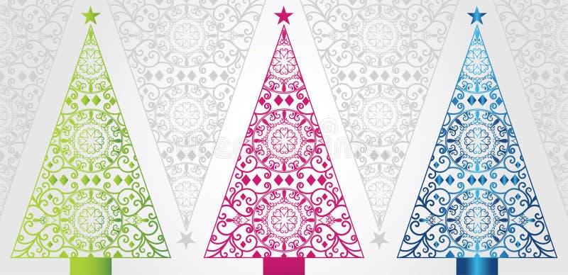Arbres de Noël géniaux et élégants illustration stock
