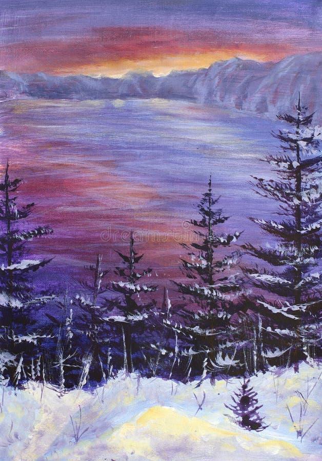 Arbres de Noël originaux de peinture à l'huile couverts dans la neige sur un fond d'un lever de soleil pourpre au-dessus d'océan  illustration stock