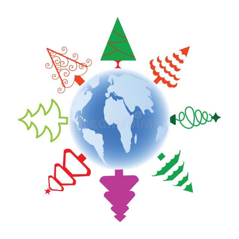 Arbres de Noël stylisés au-dessus de globe illustration libre de droits