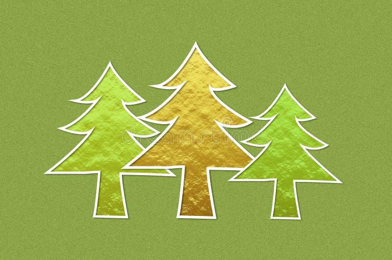 Arbres de Noël sur le fond métallique vert de scintillement image libre de droits