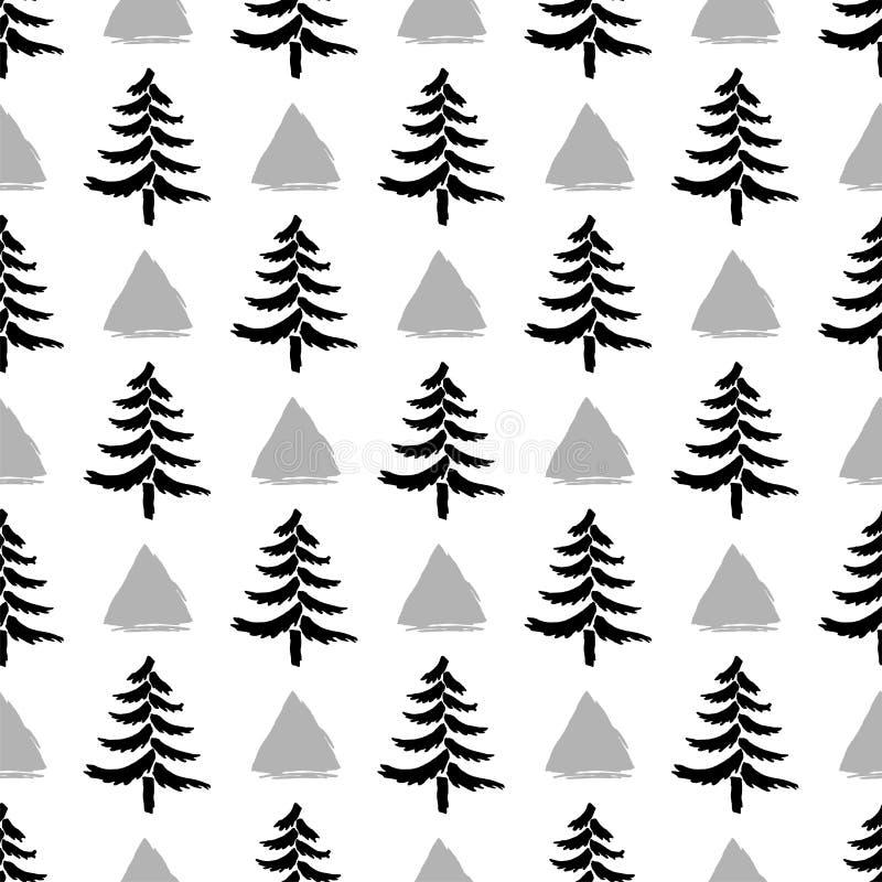 Arbres de Noël tirés par la main avec le modèle sans couture de triangles d'isolement sur le fond blanc illustration de vecteur
