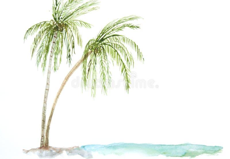Download Arbres De Noix De Coco Avec La Plage De Mer Illustration Stock - Illustration du illustration, retrait: 76086467