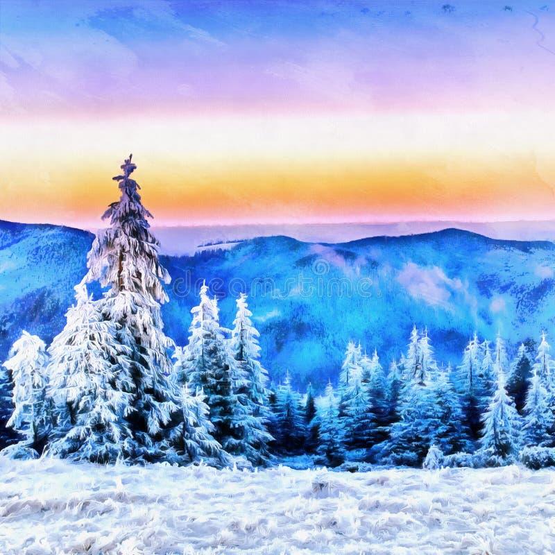 Arbres de paysage d'hiver dans le gel les travaux dans le style de l'eau illustration libre de droits