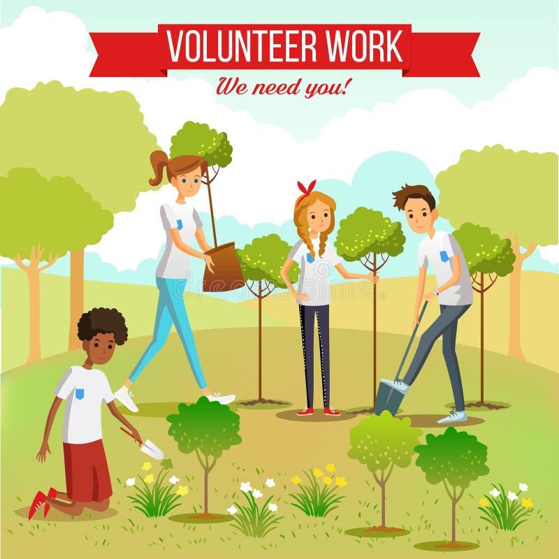 Arbres de plantation volontaires en parc illustration libre de droits