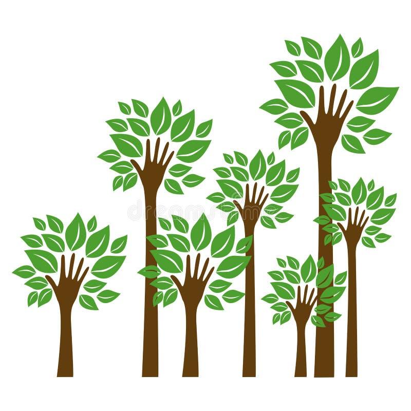 arbres de tige dans l'icône de main de forme illustration libre de droits