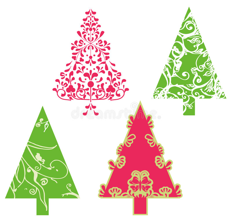 Arbres de vecteur de Noël illustration stock