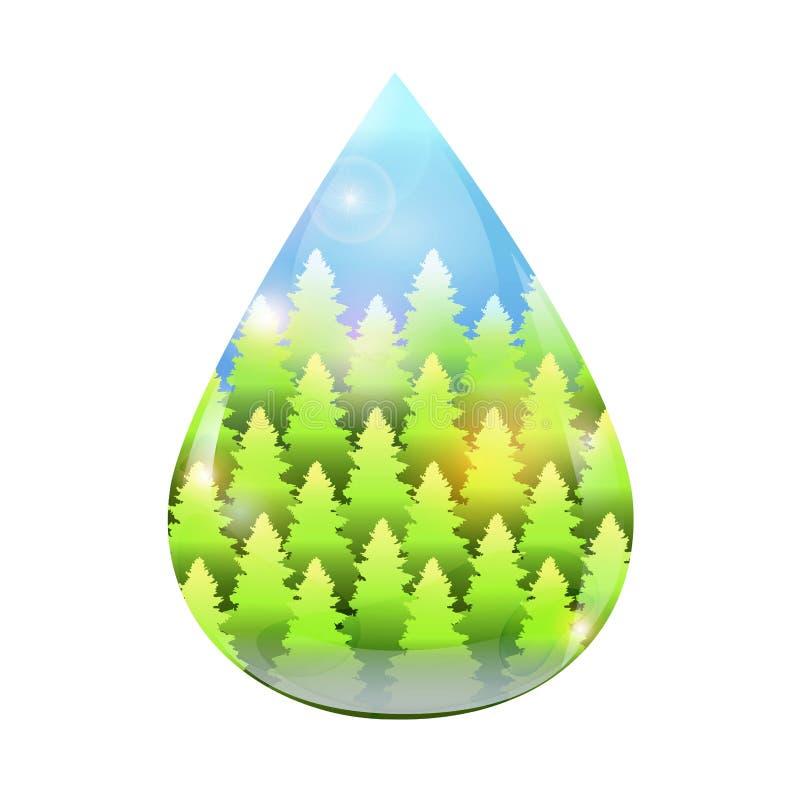 Arbres de vert de baisse de l'eau illustration libre de droits