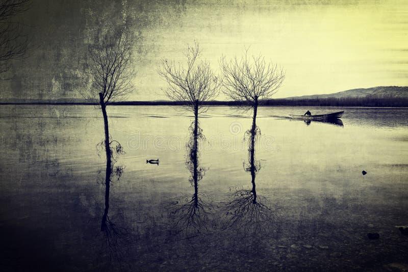 Arbres et bateau de lac photo stock