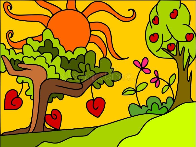 arbres et coeurs illustration de vecteur