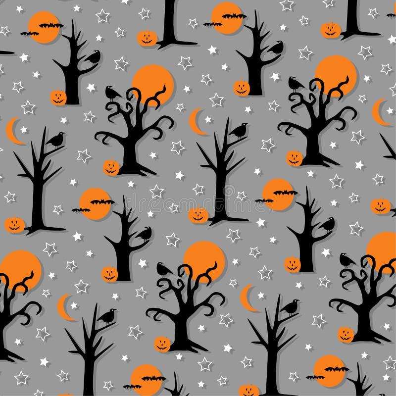 Arbres fantasmagoriques et oiseaux de Halloween illustration libre de droits