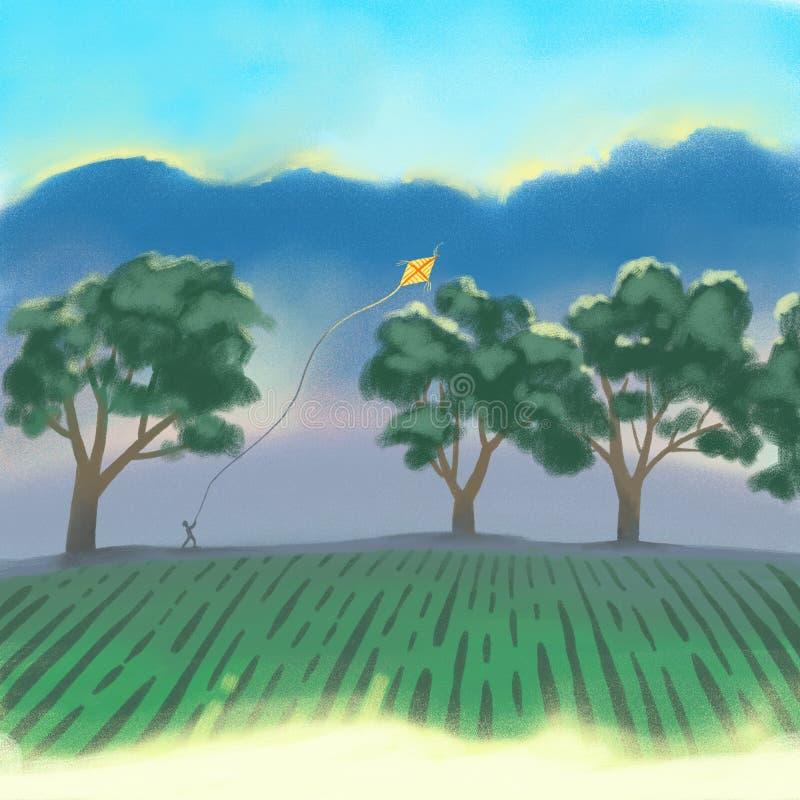 Arbres forestiers ensoleillés d'été ou de ressort et herbe verte illustration stock