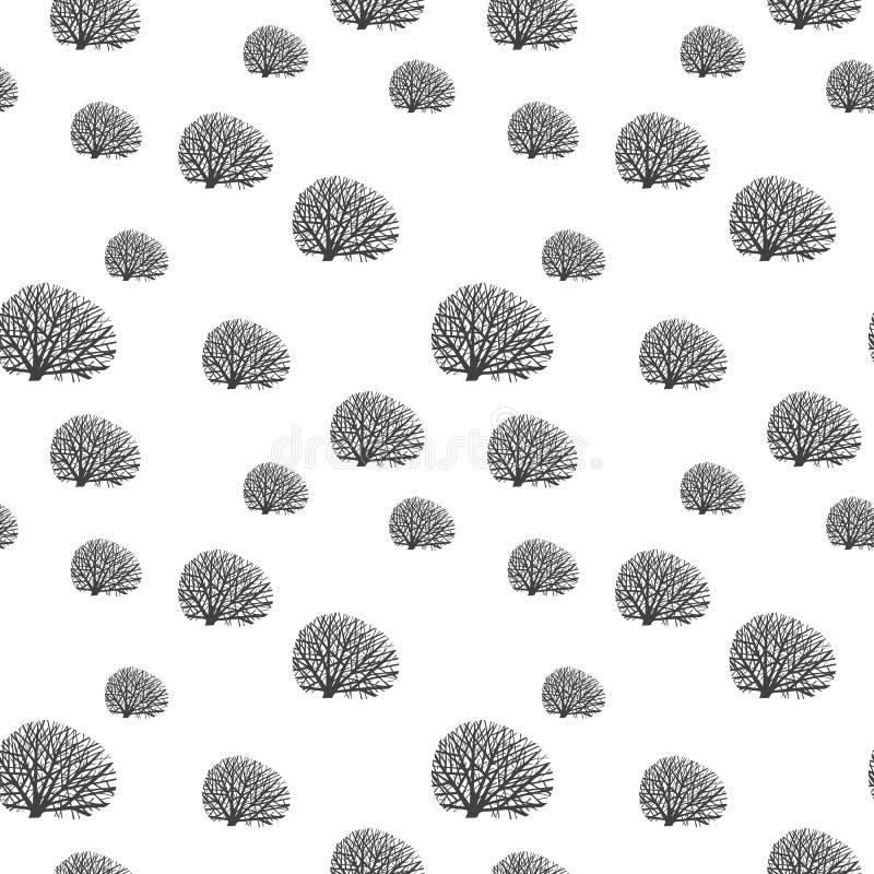 Arbres gris-foncé squelettiques de couleur sur le fond blanc Configuration sans joint Illustration de vecteur illustration stock