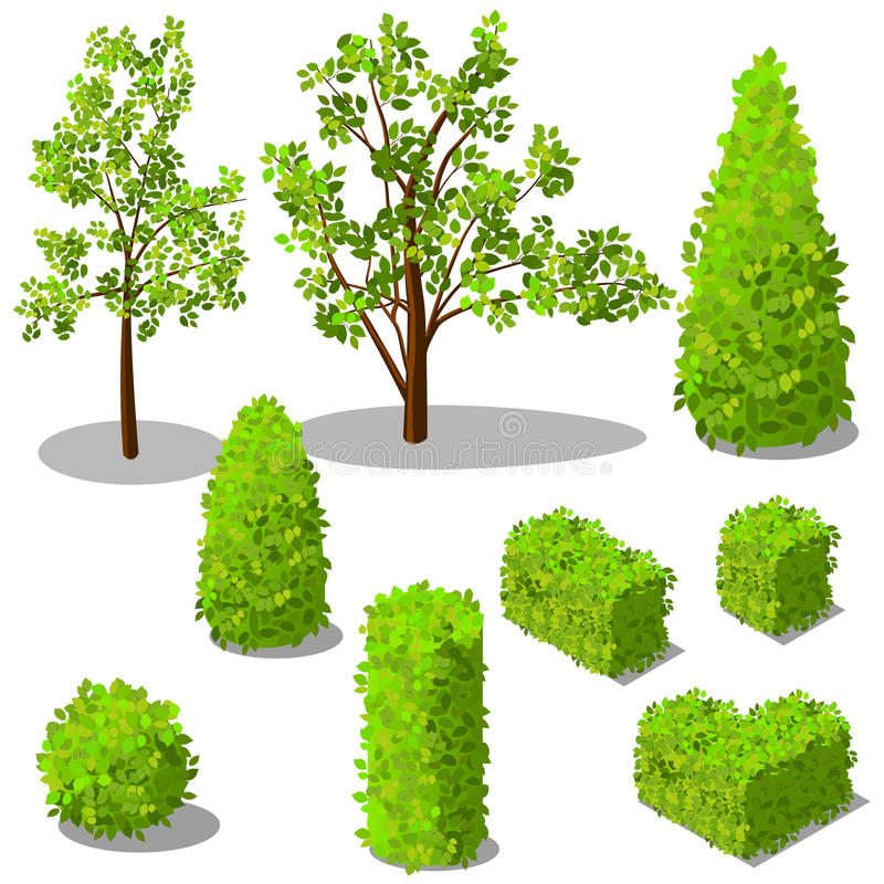 Arbres isométriques de vecteur et buissons décoratifs illustration stock