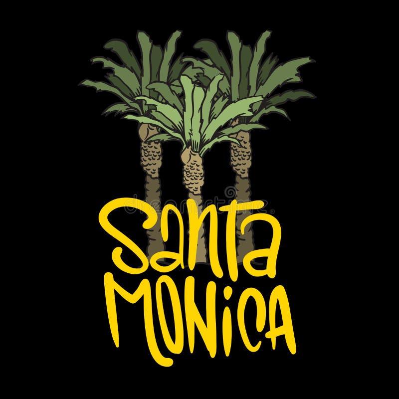 Arbres Logo Sign Label pour des annonces T-shirt de promotion ou insecte Vecto de Santa Monica California Design With Palm d'affi illustration de vecteur