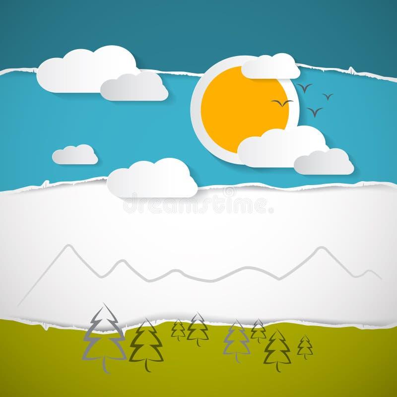 Arbres, nuages, montagne, Sun sur le rétro fond de papier déchiré illustration libre de droits