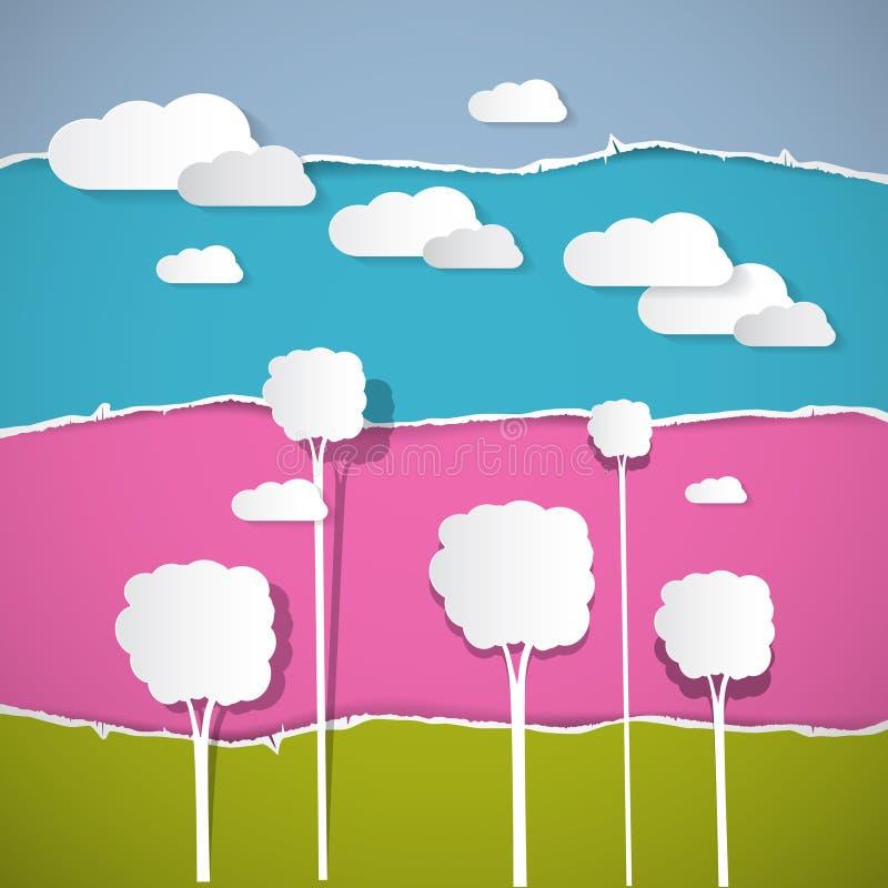 Arbres, nuages sur le rétro fond de papier déchiré illustration libre de droits