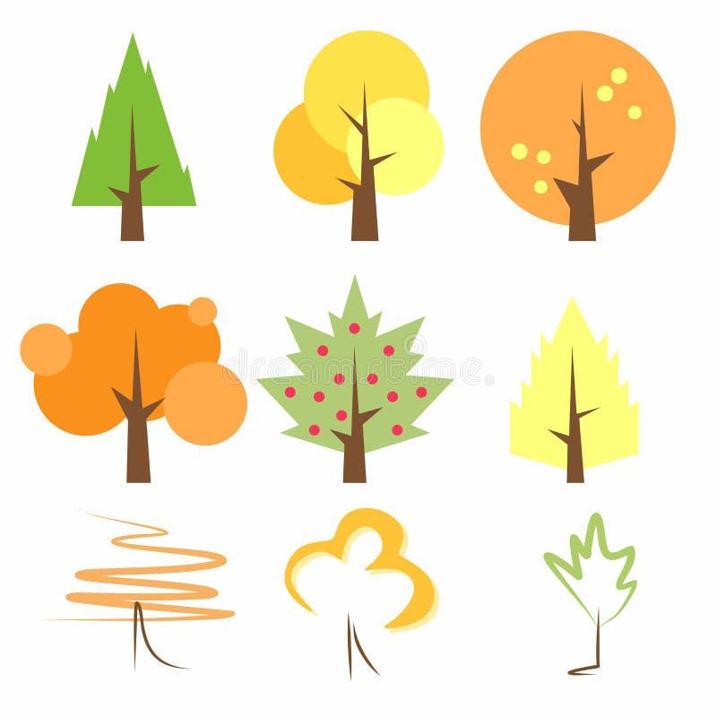 Arbres peu communs et originaux de vecteur Arbres en automne Arbres en été Les arbres sont peu précis Arbres au printemps Calibre image libre de droits