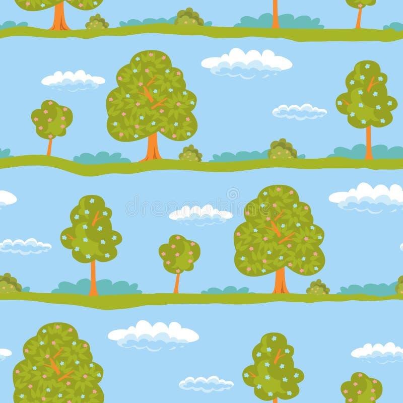 Arbres sans couture de vert de paysage d'été de fond et ciel bleu avec les nuages blancs Illustration de vecteur illustration stock