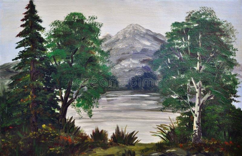 Arbres sur le côté du lac de montagne illustration de vecteur