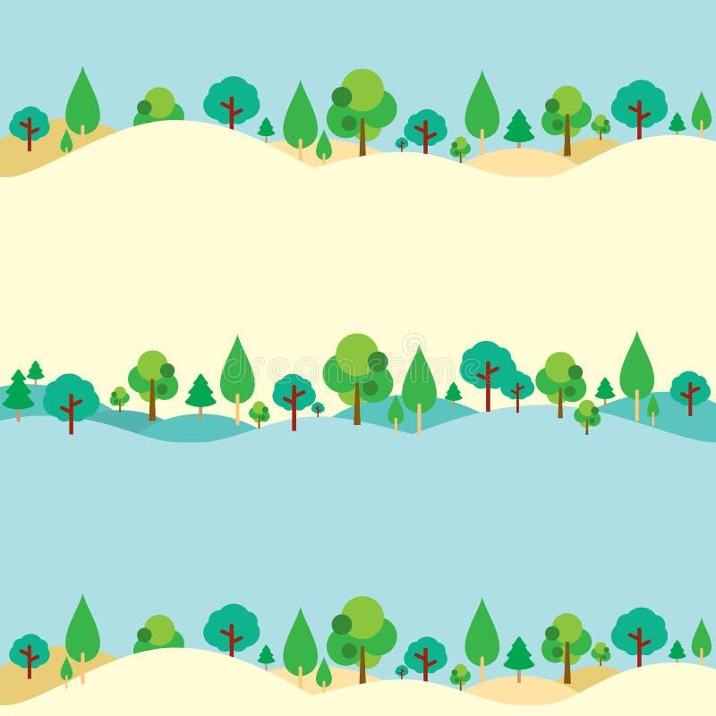 Arbres sur le fond naturel de collines illustration stock