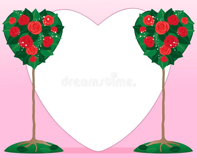 Arbusto cor-de-rosa do Valentim ilustração do vetor