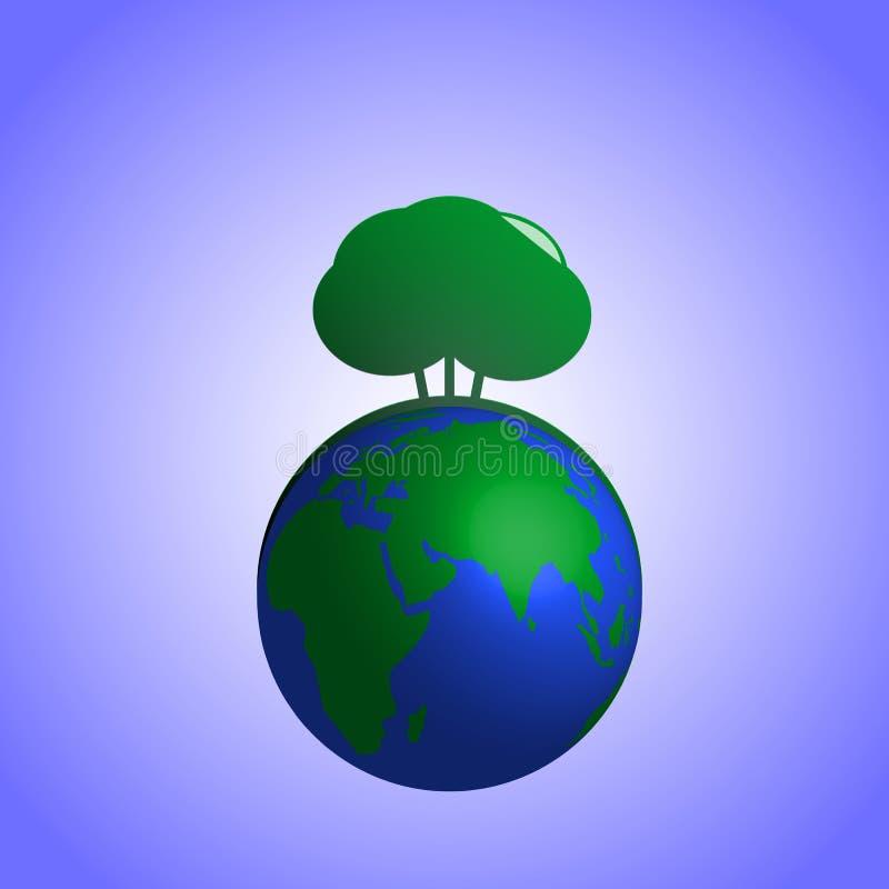 Arbusto del verde del ejemplo del vector en la tierra del planeta stock de ilustración
