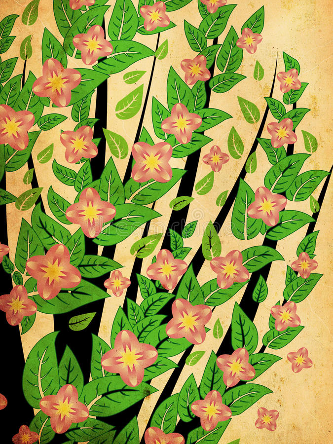Arbusto do Grunge com flor cor-de-rosa ilustração royalty free