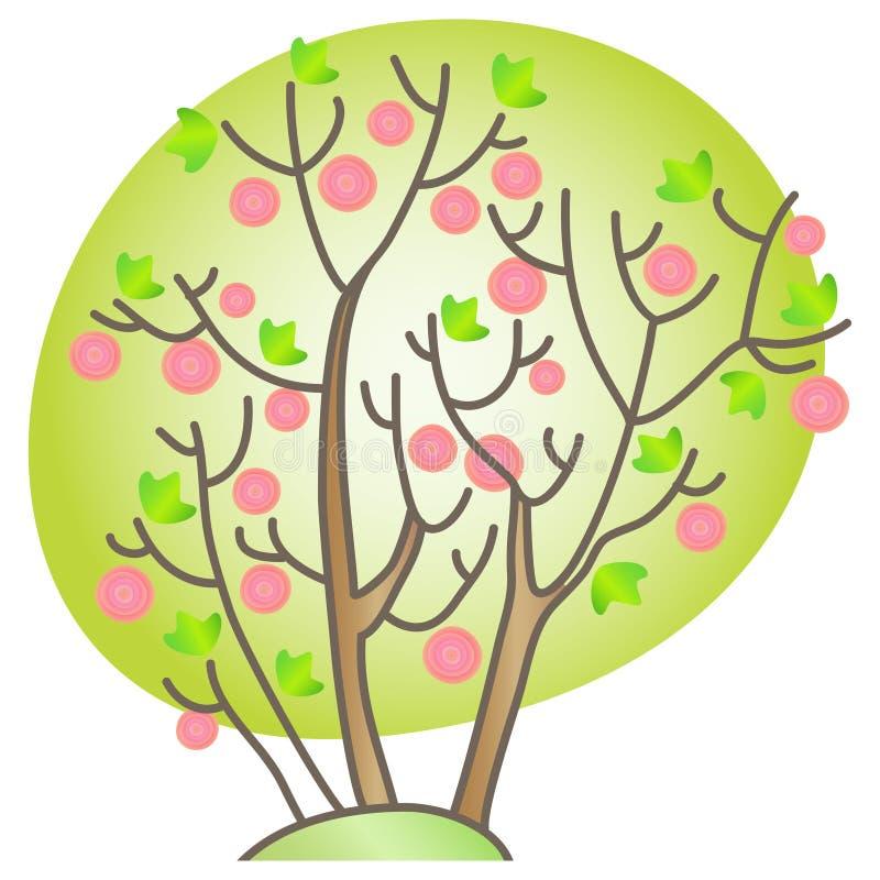 Arbusto floreciente stock de ilustración