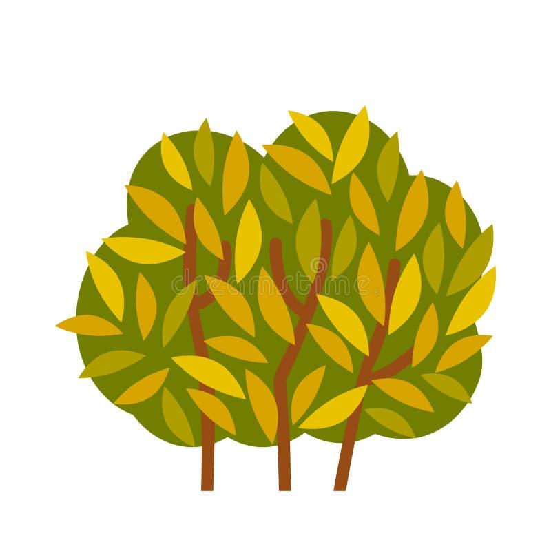 Arbusto verde com folhas brilhantes Ícone na ilustração lisa do vetor do estilo ilustração do vetor