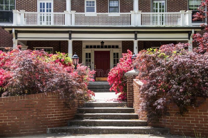 Arbustos e azáleas em camas de flor dianteiras em torno das etapas e entrada do bordo japonês à casa do sul do tijolo dos EUA do  imagem de stock