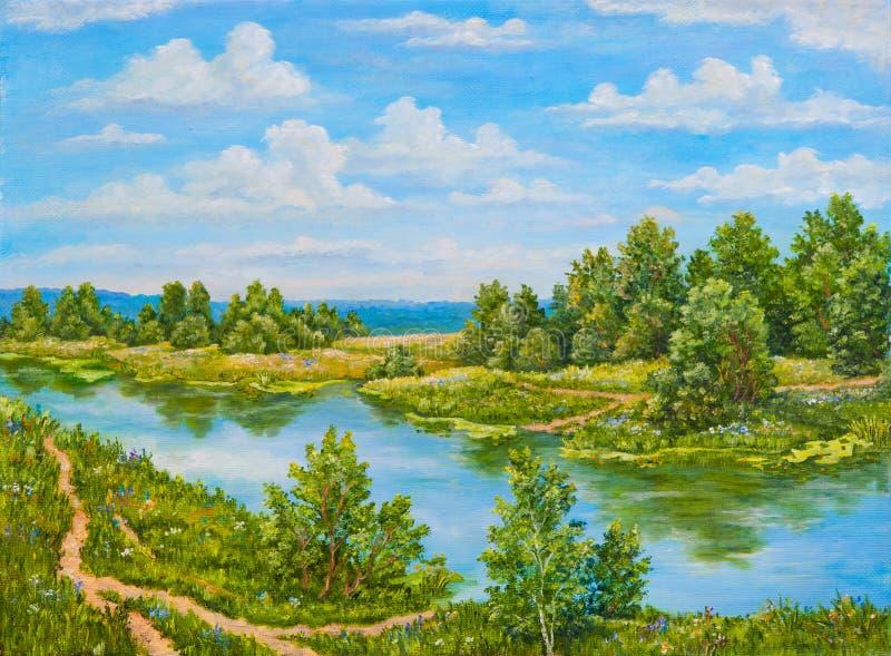 Arbustos verdes perto do rio no dia ensolarado Árvores da paisagem, grama verde na costa de um rio Pintura a óleo original na imagens de stock