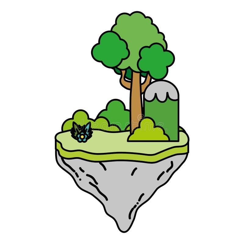 Arbustos y árbol tropicales del color en la isla del flotador ilustración del vector