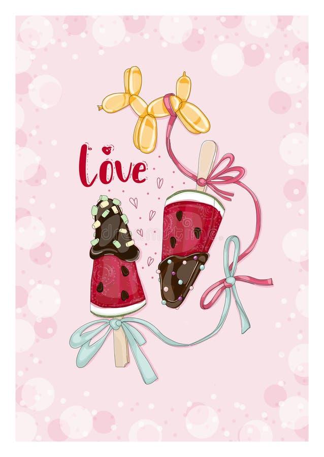 Arbuzów plasterki w czekoladzie z balonem obrazy stock