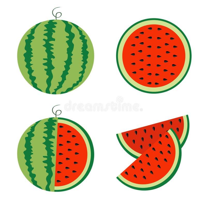 Arbuz ikony set Cały dojrzały zielony trzon Plasterek połówki rżnięci ziarna Zielona Czerwona round owocowa jagodowa ciało łupa k ilustracji