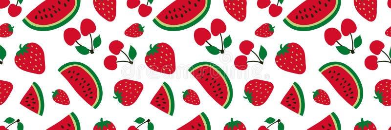 Arbuz, wi?nia i truskawkowy bezszwowy wz?r, Czerwona jagoda s?odkie owoce Moda projekt Karmowy druk dla sukni, tkanina, ilustracja wektor