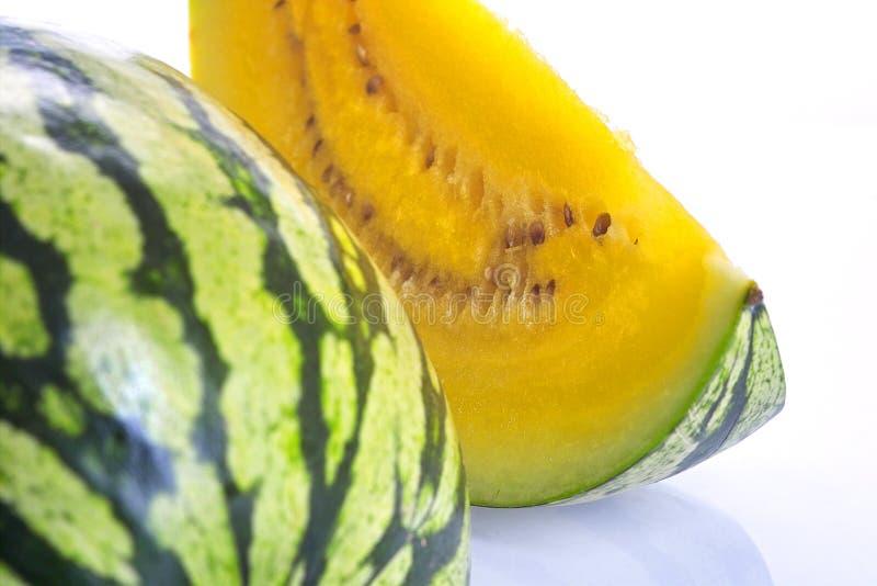 arbuza żółte kawałki obrazy stock
