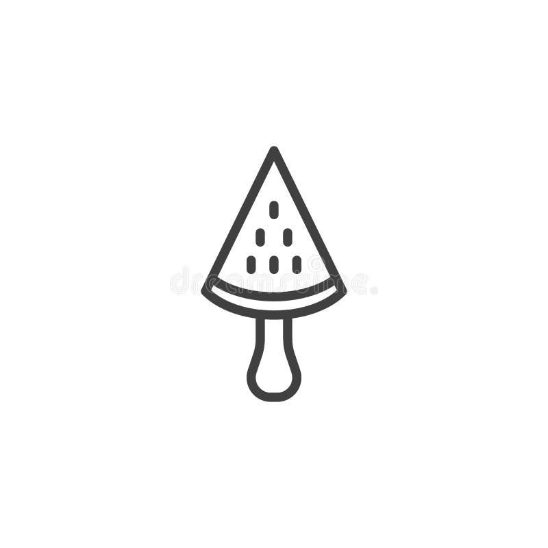Arbuza lody kija linii ikona ilustracji