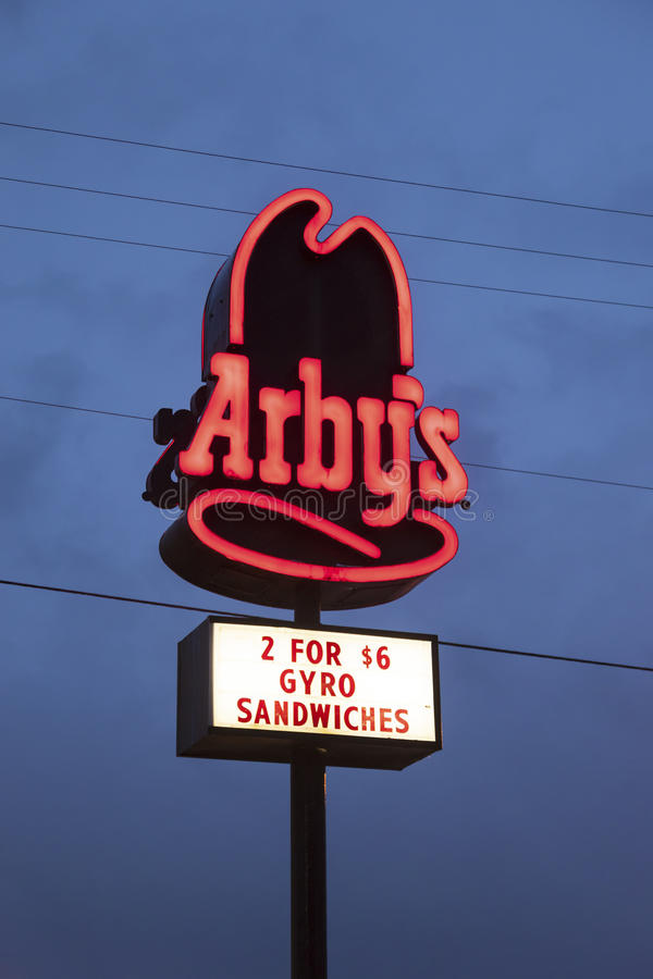 Arby's Logo illuminated at night royalty free stock photos