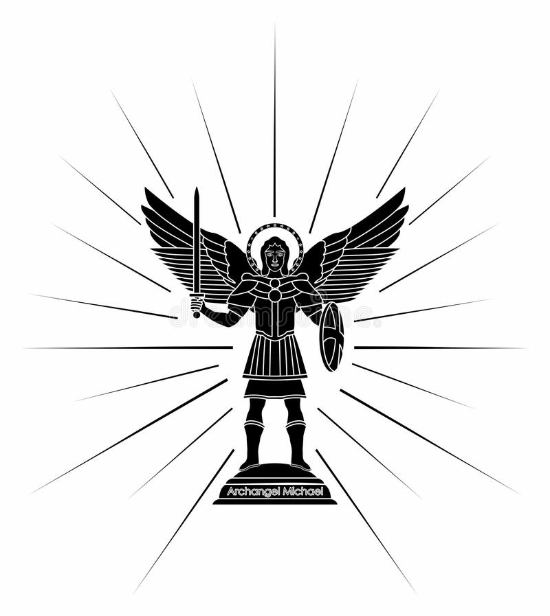 Arcángel Michael Terraplén negro ilustración del vector