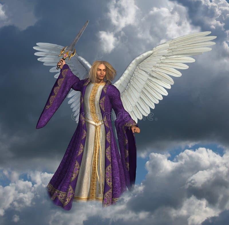 Arcángel Micheal con el cielo - 2 ilustración del vector