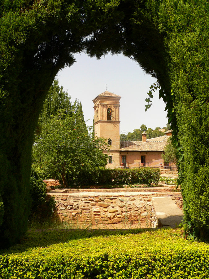 Arc of Alhambra garden stock photography