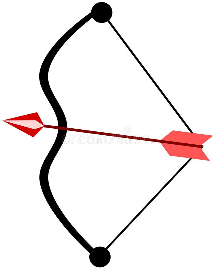 Stylized Arc and arrow isolated. Image representing an isolated arc with arrow stock illustration