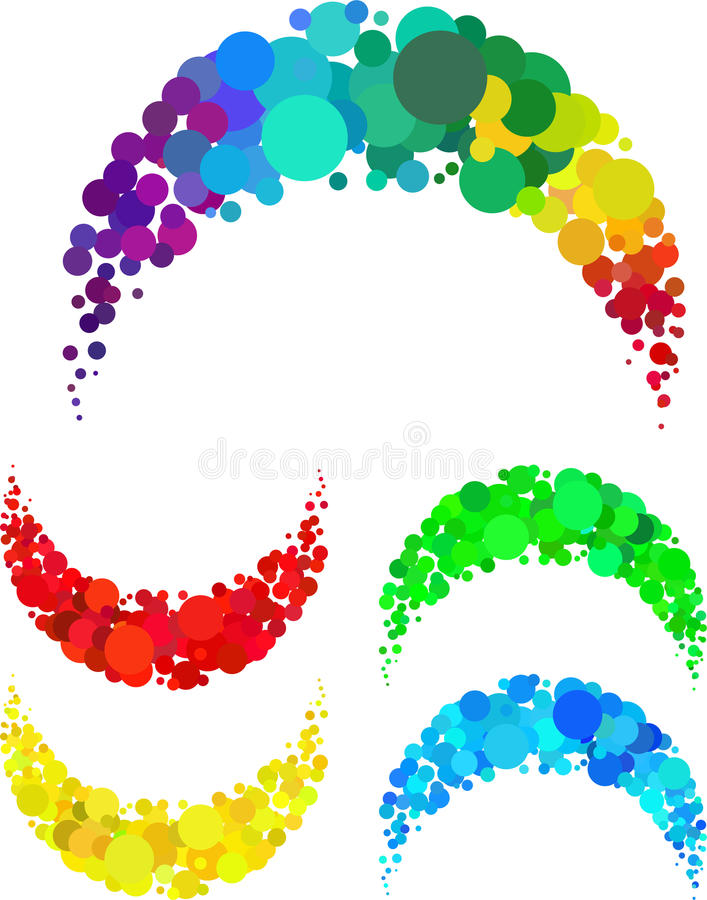 Arc of a circle formed by the scattered royalty free illustration