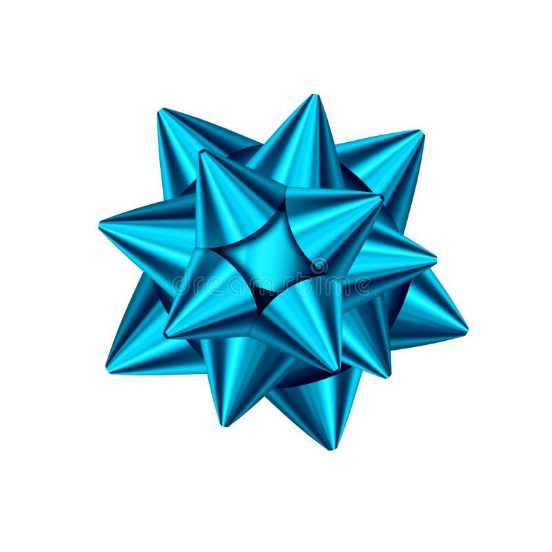 Arc décoratif bleu de cadeau d'isolement sur le fond blanc illustration libre de droits