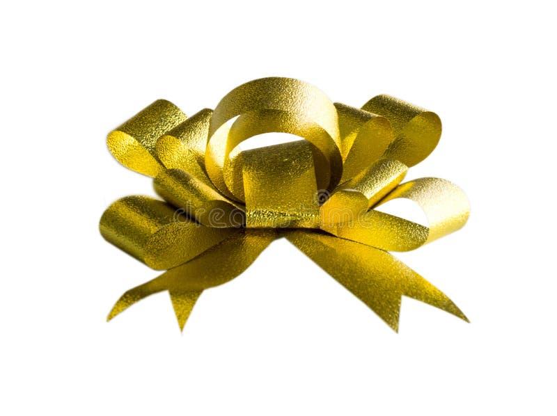 Arc de fantaisie de cadeau d'or photo libre de droits