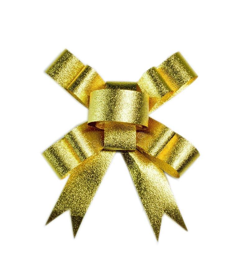 Arc de fantaisie de cadeau d'or images stock