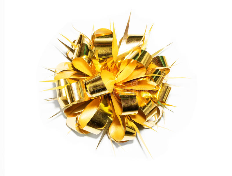Arc de fantaisie de cadeau d'or photos libres de droits