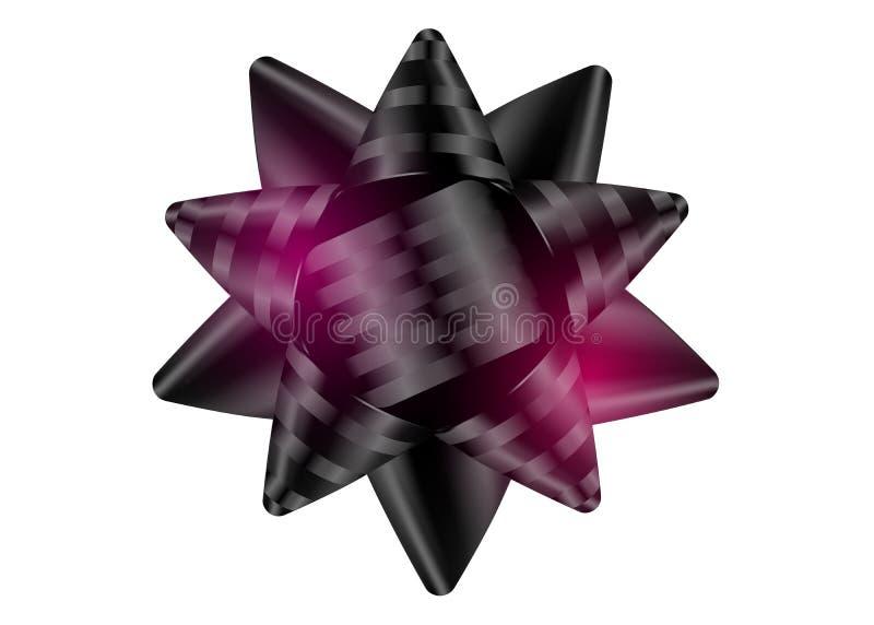 Arc de noir de vecteur Noeud de soie ou de satin avec les bandes brillantes illustration libre de droits