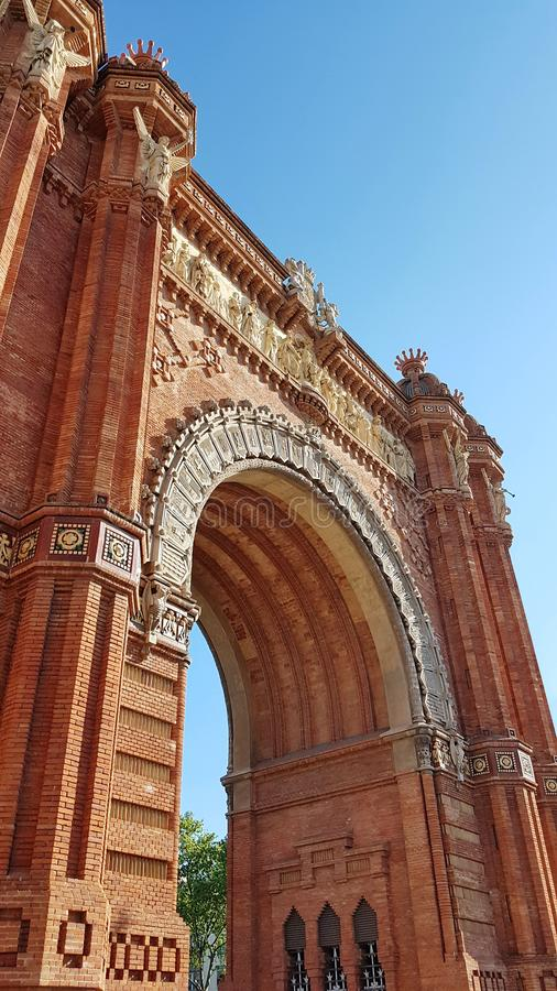 Arc de Triomf στη Βαρκελώνη, Καταλωνία, Ισπανία στοκ εικόνα