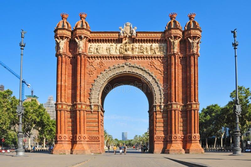 Arc de Triomf in Barcelona, Spanien stockbilder